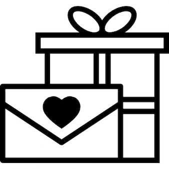 Love letter and gift box with ribbon