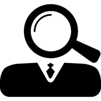 Magnifying lens as head of business professional