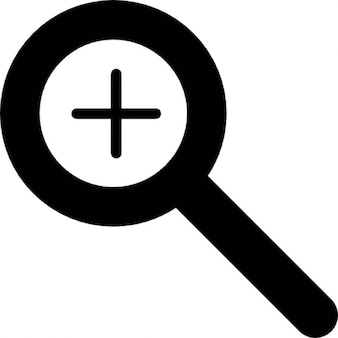Magnifying lens outline with plus sign