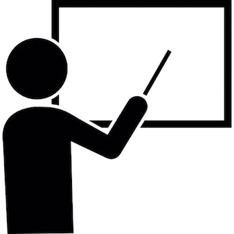 Male cartoon pointing to white board