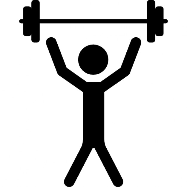 Man with raised arms lifting dumbbells weight