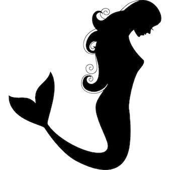 Mermaid side view silhouette