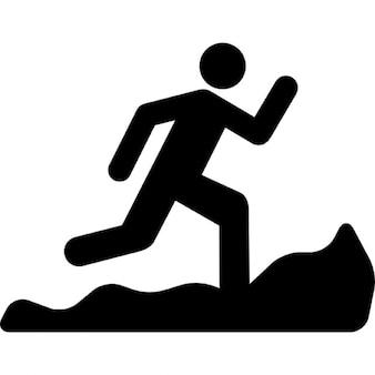 Mountain running silhouette