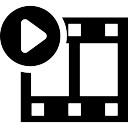 Movie frames play button interface symbol