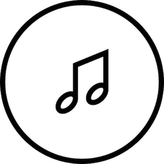 Musical note inside a button outline