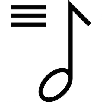 Musical note with three horizontal lines on the left side