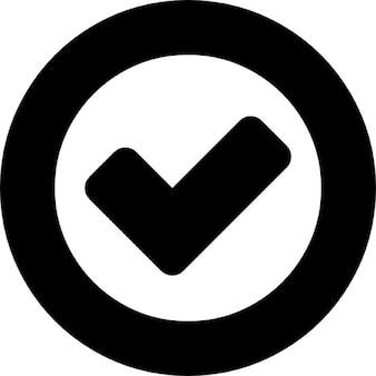 Ok symbol inside a circle outline