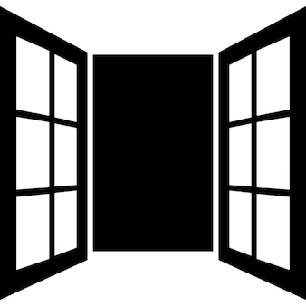 Opened window door of glasses