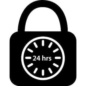 Padlock symbol of security 24 hours a day
