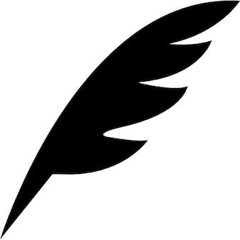 Pen feather black diagonal shape of a bird wing