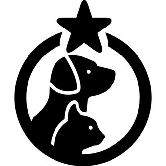 Pets hotel symbol with a dog and a cat in a circle with one star