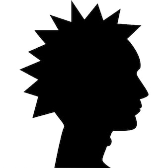 Punk male head side view silhouette