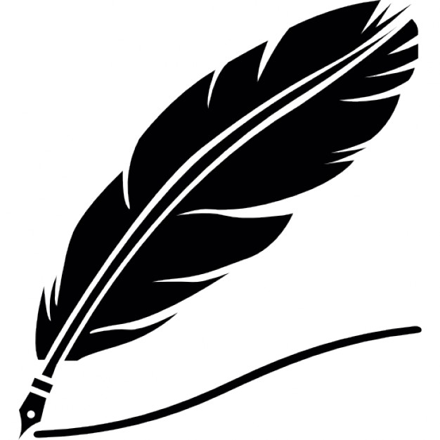 Quill silhouette with black ink
