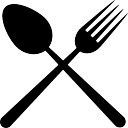Restaurant cutlery symbol of a cross