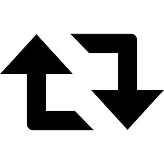 Retweet arrows couple symbol