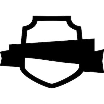 Ribbon on shield outline