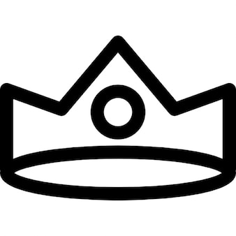 Royal crown of simple design with a frontal circular gemstone