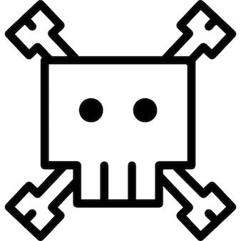 Skull cartoon variant outline