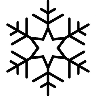 Snowflake with six points star in the center of lines pattern forming an hexagon