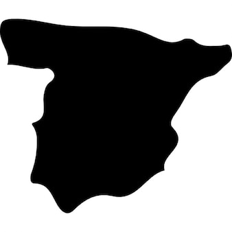Spain country map black shape