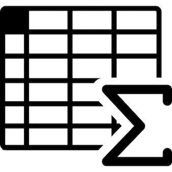 Spreadsheet with sum symbol