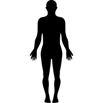 Standing human body silhouette