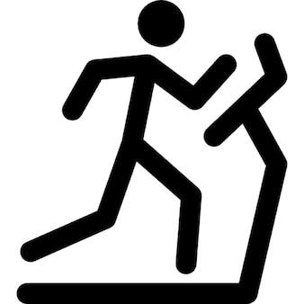 Stick man running on a treadmill
