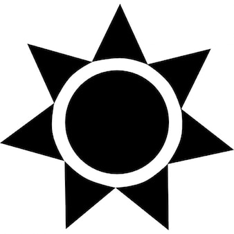 Sun black shape of a circle with triangles