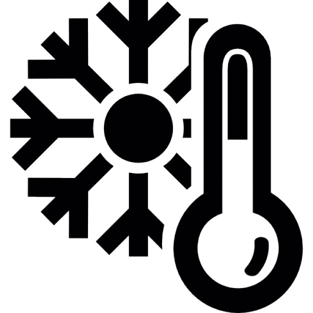 Thermometer and a snowflake, cold winter weather symbol