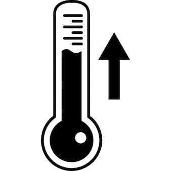 Thermometer measuring ascending temperature