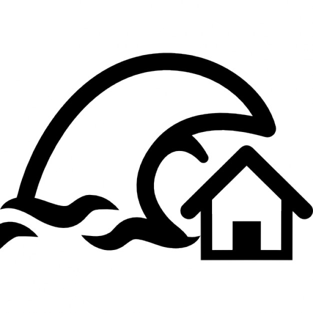Tsunami insurance symbol of a home and a big ocean wave