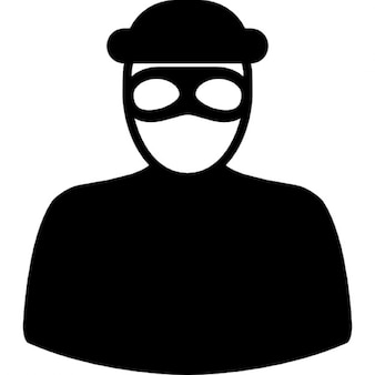 Unrecognizable robber with eyes mask