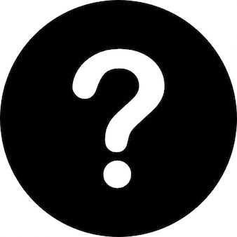 White question mark on a black circular background