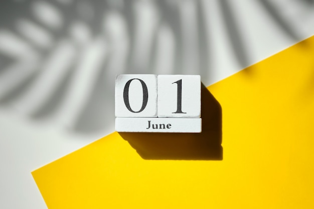 01 first june month calendar concept on wooden blocks.
