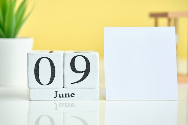 09 ninth day june month calendar concept on wooden blocks. copy space.