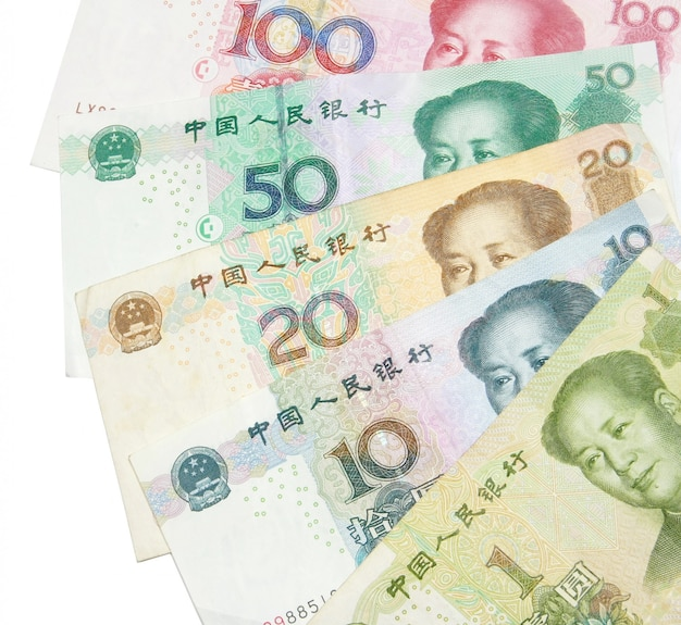 1 20 50 100中国の紙幣のクローズアップ