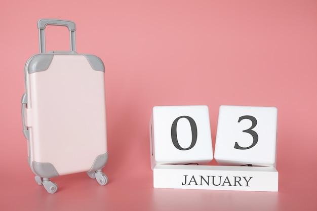 1月3日のカレンダー近くのトロラー