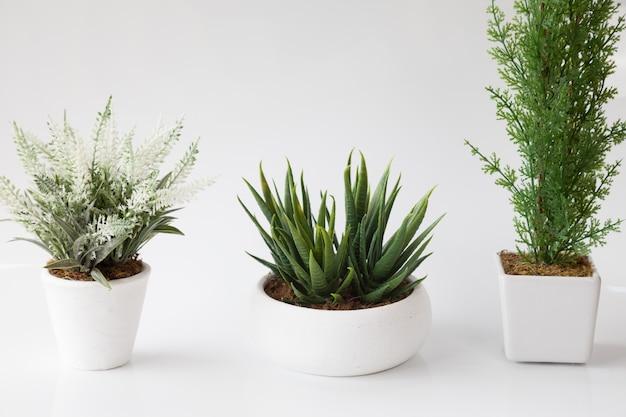 白い植木鉢にと白い背景の上に偽の花の1の3。