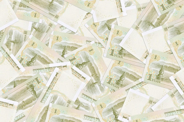1 chinese yuan bills lies in big pile. rich life conceptual background