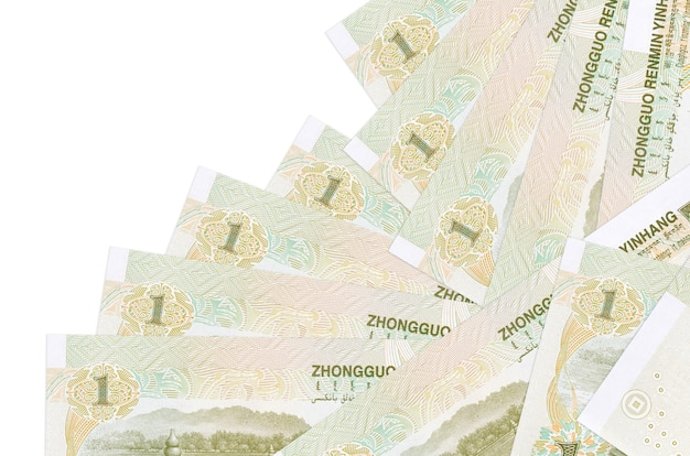 1 chinese yuan bills lies in different order isolated on white