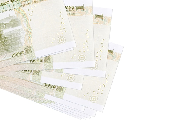 1 chinese yuan bills lies in small bunch or pack isolated on white.  business and currency exchange concept