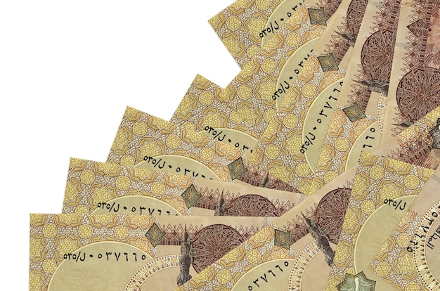 1 egyptian pound bills lies in different order isolated on white. local banking or money making concept.