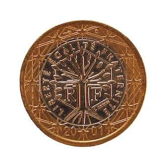 Монета 1 евро, европейский союз, франция, изолированные на белом фоне