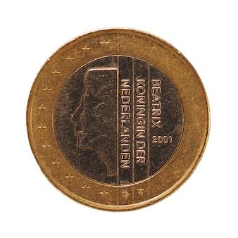 Монета 1 евро, европейский союз, нидерланды над синим, изолированным над белым