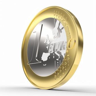 Монета 1 евро на белом. денежное понятие. 3d визуализация.