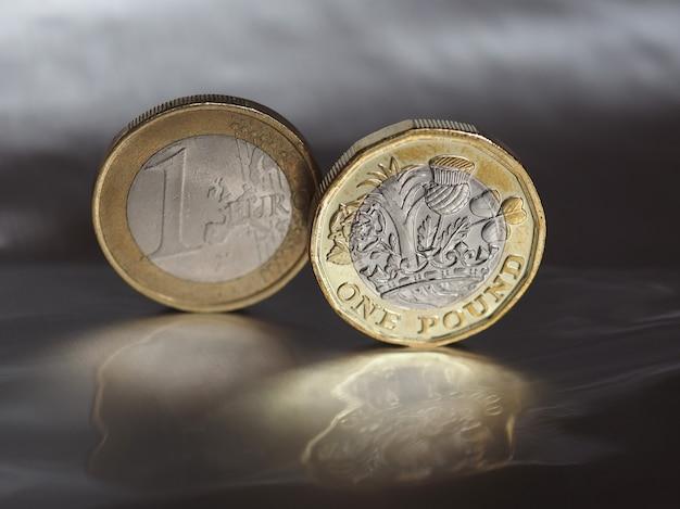 Монета 1 фунт и 1 евро на металлическом фоне