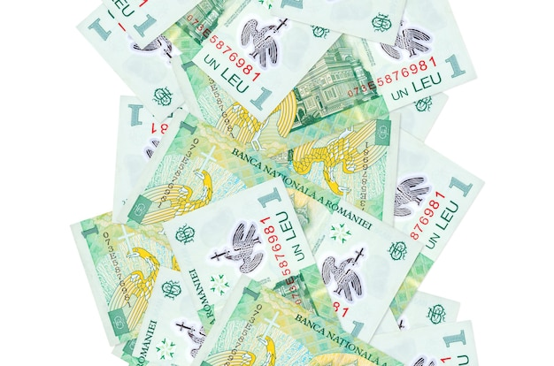 1 romanian leu bills flying down isolated on white. many banknotes falling with white copy space on left and right side