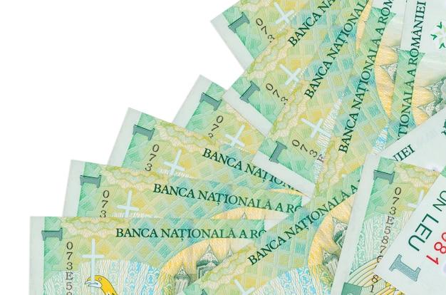 1ルーマニアレウの請求書は、白で隔離されたさまざまな順序であります。ローカルバンキングまたは金儲けの概念。