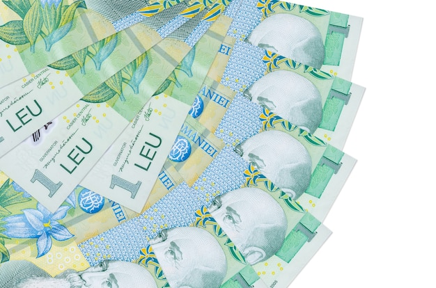 1 romanian leu bills lies isolated on white background with copy space stacked in fan shape close up