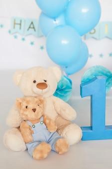 День рождения 1 год торт smash decor голубого цвета
